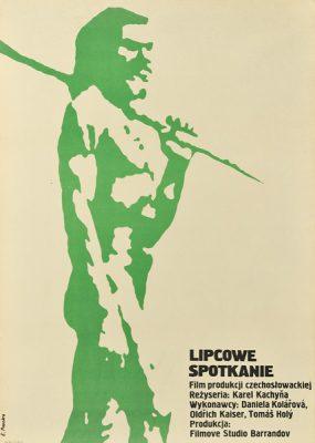 """Plakat filmowy do czechosłowackiego filmu """"Lipcowe spotkanie"""". Reżyseria: Karel Kachyna. Projekt: ELŻBIETA PROCKA"""