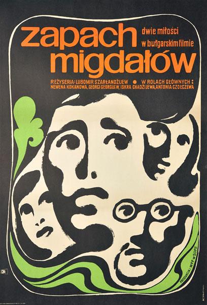 """Oryginalny plakat filmowy do bułgarskiego filmu """"Zapach migdałów"""". Reżyseria: Lubomir Szarłandżijew. Plakat z 1968 r. Projekt: WITOLD CHMIELEWSKI"""