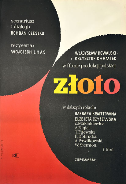 """Oryginalny plakat filmowy do polskiego filmu """"Złoto"""". Reżyseria: Wojciech Has. Plakat z 1962 r. Projekt: MARIA HEIDRICH"""
