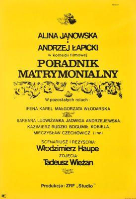 """Oryginalny plakat filmowy do polskiego filmu """"Poradnik matrymonialny"""". Reżyseria: Włodzimierz Haupe. Plakat z 1968 r. Projekt: JANUSZ RAPNICKI"""