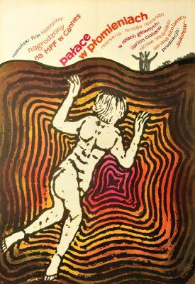 """Oryginalny plakat filmowy do rumuńskiego filmu """"Pałace w płomieniach"""". Reżyseria: Mircea Muresan. Plakat z 1965 r. Projekt: JERZY FLISAK"""