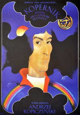 """Polska szkoła plakatu, oryginalny plakat filmowy vintage z okresu PRL """"Kopernik"""", Waldemar Świerzy, 1972"""