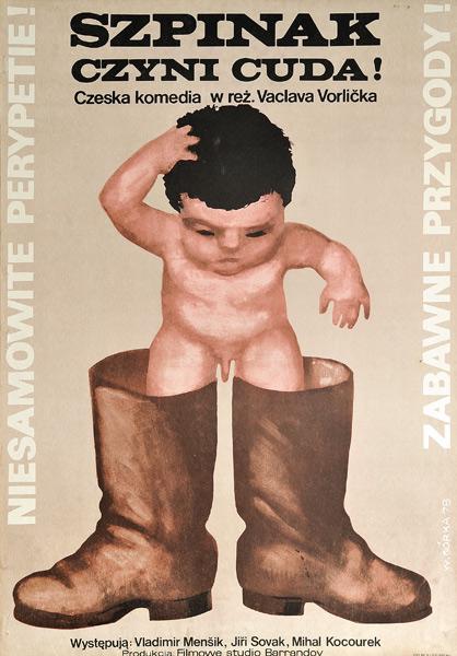 """Oryginalny polski plakat filmowy do czechosłowackiej komedii """"Szpinak czyni cuda"""". Reżyseria: Václav Vorlíček. Projekt: WIKTOR GÓRKA"""
