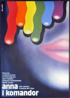 """Plakat filmowy do radzieckiego filmu """"Anna i komandor"""". Reżyseria: Jewgienij Chryniuk. Projekt: ROMUALD SOCHA"""