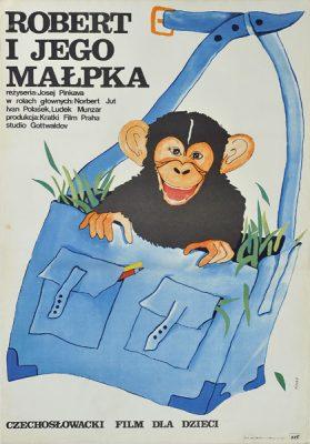 """Plakat filmowy do czechosłowackiego filmu """"Robert i jego małpka"""". Reżyseria: Josef Pinkava. Projekt: ANNA MIKKE"""