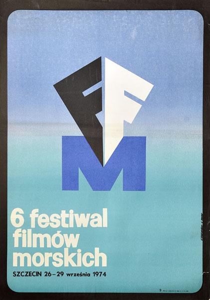 Oryginalny polski plakat reklamujący VI Festiwal Filmów Morskich