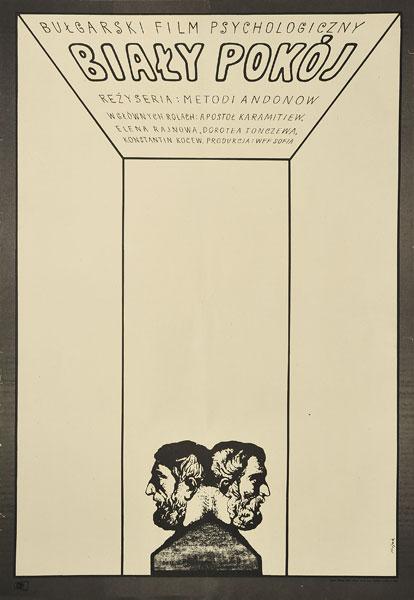 """Oryginalny polski plakat filmowy do filmu bułgarskiego """"Biały pokój"""". Reżyseria: Metodi Andonov. Projekt: JERZY FLISAK"""