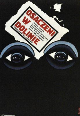"""Plakat filmowy do czechosłowackiego filmu partyzanckiego """"Osaczeni w dolinie"""". Reżyseria: Stafan Uhrer. Projekt plakatu: ROMUALD SOCHA"""