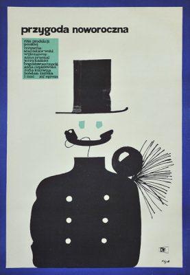 """Plakat filmowy do polskiego filmu """"Przygoda noworoczna"""". Reżyseria: Stanisław Wohl. Projekt plakatu: JERZY FLISAK"""