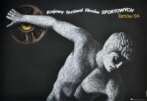 Oryginalny polski plakat reklamujący Krajowy Festiwal Filmów Sportowych