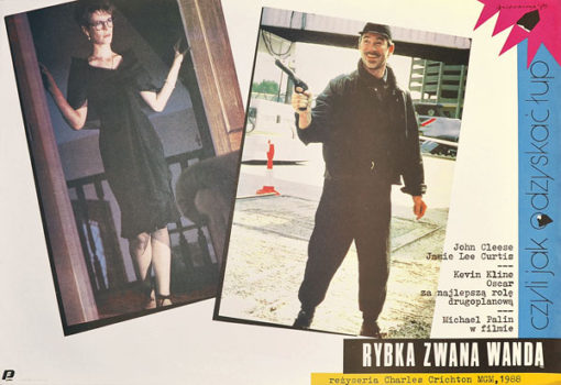 """Oryginalny plakat filmowy do amerykańskiej komedii """"Rybka zwana Wandą"""". Reżyseria Charles Crichton. Plakat z 1989 r. Projekt: Andrzej Nowaczyk."""