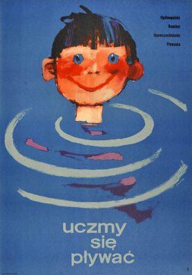 """Oryginalny polski plakat społeczny reklamujący naukę pływania """"Uczmy się pływać"""". Projekt: WALDEMAR ŚWIERZY"""