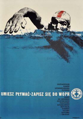 """Oryginalny polski plakat społeczny zachęcający do wstąpienia do WOPR """"Umiesz pływać - zapisz się do WOPR"""". Projekt: JERZY NEUGEBAUER"""