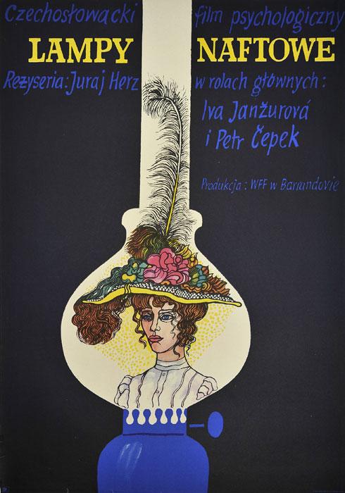 """Oryginalny polski plakat filmowy do czeskiego filmu """"Lampy naftowe"""". Reżyseria: Juraj Herz. Projekt plakatu: MARIAN STACHURSKI"""
