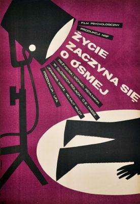 """Oryginalny polski plakat filmowy do niemieckiego filmu """"Życie zaczyna się o ósmej"""". Reżyseria: Michael Kehlmann. Projekt plakatu: MACIEJ ŻBIKOWSKI"""