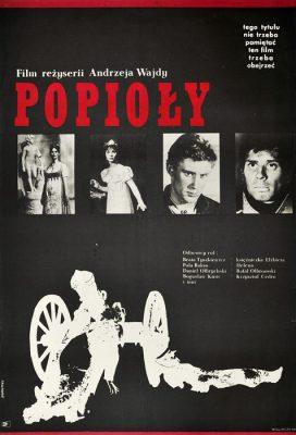 """Oryginalny polski plakat filmowy do polskiego filmu """"Popioły"""". Reżyseria: Andrzej Wajda. Projekt plakatu: JANUSZ RAPNICKI"""