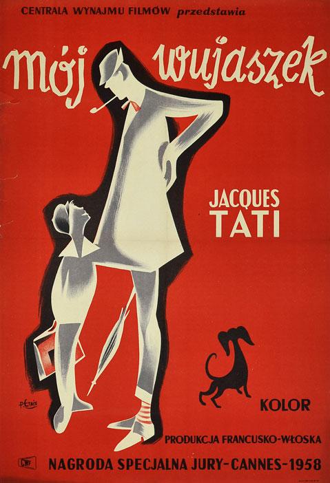 """Oryginalny polski plakat filmowy do francusko-włoskiego filmu """"Mój wujaszek"""". Reżyseria: Jacques Tati. Projekt plakatu: PIERRE ETAIX"""