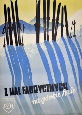 Oryginalny polski plakat propagandowo-turystyczny z 1950 r. promujący narciarstwo w polskich górach. Projekt plakatu: JAN KURKIEWICZ