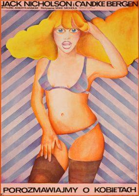 """Oryginalny polski plakat filmowy do amerykańskiego filmu """"Porozmawiajmy o kobietach"""". Reżyseria: Mike Nichols. Projekt plakatu: MARIA IHNATOWICZ MUCHA"""