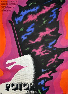 """Oryginalny polski plakat filmowy do polskiego filmu """"Potop"""". Reżyseria: Jerzy Hoffman. Projekt plakatu: ERYK LIPIŃSKI"""