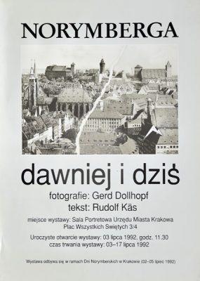 Plakat wystawy Norymberga dawniej i dziś zorganizowanej z okazji Dni Norymberskich w Krakowie w 1992 r.