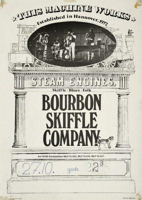 Plakat reklamujący koncert niemieckiego zespołu Bourbon skiffle company. Projekt: HANS H. HAMISH