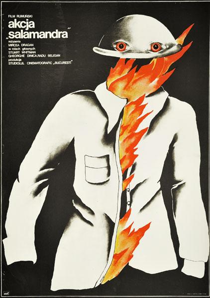 "Plakat filmowy do rumuńskiego filmu ""Akcja Salamandra"". Reżyseria: Mircea Dragan. Projekt: ANNA MIKKE"