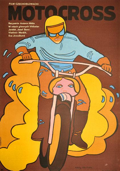 """Plakat filmowy do czechosłowackiego filmu """"Motocross"""". Reżyseria: Antonin Masa. Projekt: JACEK NEUGEBAUER"""