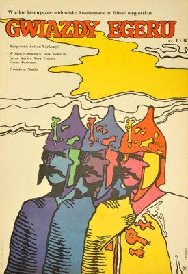 """Plakat filmowy do węgierskiego filmu """"Gwiazdy Egeru"""". Reżyseria: Zoltan Varkonyi. Projekt: JACEK NEUGEBAUER"""