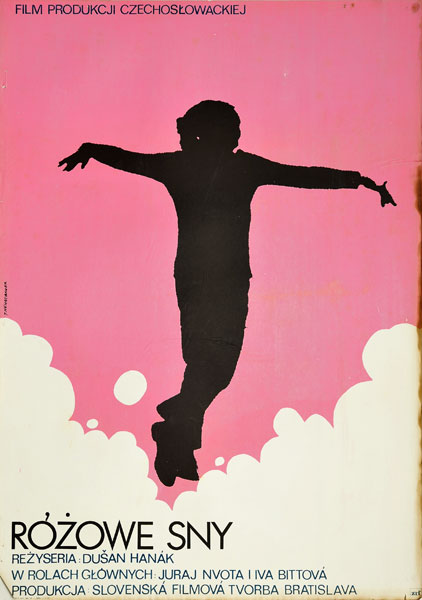 """Plakat filmowy do czechosłowackiego filmu """"Różowe sny"""". Reżyseria: Dusan Hanak. Projekt: JACEK NEUGEBAUER"""