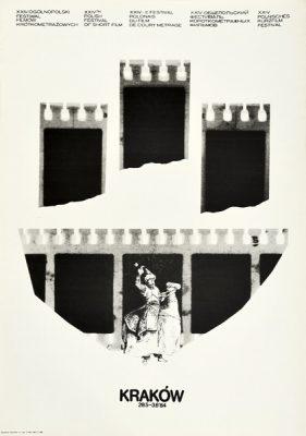 Plakat zapowiadający XXIV Ogólnopolski Festiwal Filmów Krótkometrażowych w Krakowie w dniach 29.05 - 3.06.1984r.