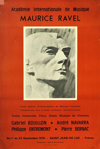 Plakat zapowiadający kursy muzyczne w Academie Internationale de Musique Maurice Ravel we Francji w dniach 1-23 września 1970.