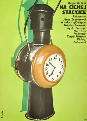 """Movie poster for Hungarian film: """"Na cichej stacyjce"""". Directed by Janos Zsombolyai"""