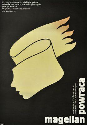 """Plakat filmowy do rumuńskiego filmu """"Magellan powraca"""". Reżyseria: Cristiana Nicolae. Projekt: LECH MAJEWSKI"""
