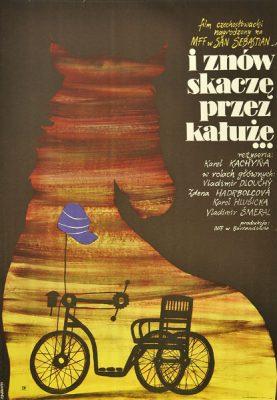 """Plakat filmowy do czechosłowackiego filmu """"I znów skaczę przez kałuże"""". Reżyseria: Karel Kachyna. Projekt plakatu: ZYGMUNT BOBROWSKI"""