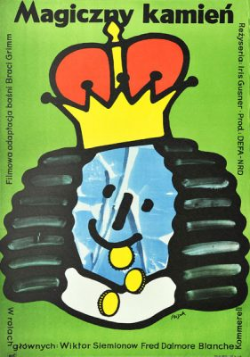 """Plakat filmowy do niemieckiego filmu """"Magiczny kamień"""". Reżyseria: Iris Gusner. Projekt plakatu: JERZY FLISAK"""