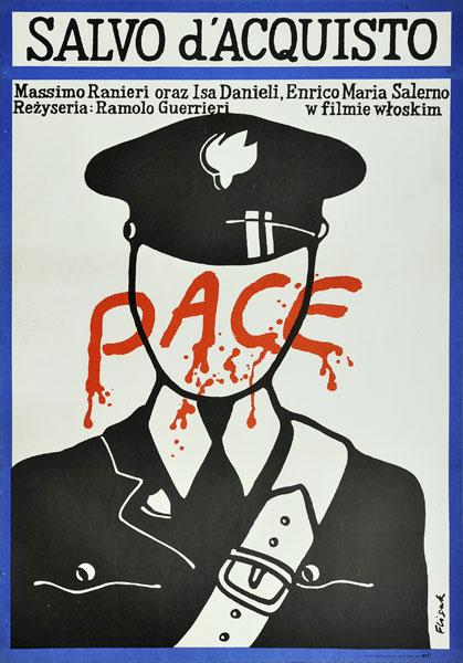 """Plakat filmowy do włoskiego filmu """"Salvo d'acquisito"""". Reżyseria: Ramolo Guerrieri. Projekt plakatu: JERZY FLISAK"""