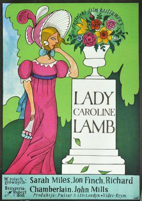 """Plakat filmowy do angielskiego filmu """"Lady Caroline Lamb"""". Reżyseria: Robert Bolt. Projekt plakatu: JERZY FLISAK"""