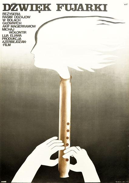"""Oryginalny polski plakat filmowy do radzieckiego filmu """"Dźwięk fujarki"""". Reżyseria: Rasim Odzajow. Projekt plakatu: ANNA MIKKE"""