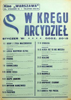 """Afisz kinowy """"W kręgu arcydzieł"""" z repertuarem krakowskiego kina Warszawa na styczeń 1981. Plakat wydany w nakładzie 150 szt!"""