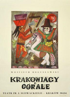 """Oryginalny polski plakat teatralny do sztuki """"Krakowiacy i Górale"""" w Teatrze im. J. Słowackiego w Krakowie. Projekt: Adam Kilian"""