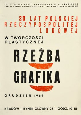"""Oryginalny polski plakat wystawowy: """"20 lat PRL w twórczości plastycznej. Rzeźba"""