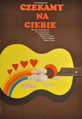 """Plakat filmowy do radzieckiego filmu """"Czekamy na Ciebie"""". Reżyseria: Ravil Batyrov. Projekt: JACEK NEUGEBAUER"""