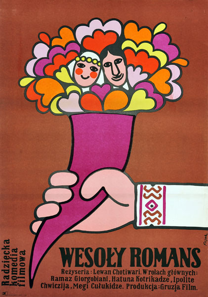 """Plakat filmowy do radzieckiego filmu """"Wesoły romans"""". Reżyseria: Levan Khotivari. Projekt: JERZY FLISAK"""