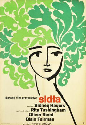 """Plakat filmowy do angielskiego filmu """"Sidła"""". Reżyseria: Sidney Hayers. Projekt: WŁADYSŁAW JANISZEWSKI"""