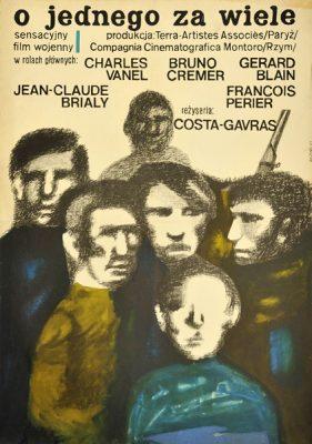 """Plakat filmowy do francuskiego filmu """"O jednego za wiele"""". Reżyseria: Costa-Gavras. Projekt: HANNA BODNAR"""