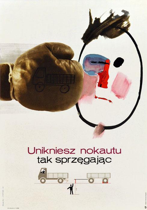 """Oryginalny polski plakat społeczny BHP """"Unikniesz nokautu tak sprzęgając"""". Projekt plakatu: ROSŁAW SZAYBO"""