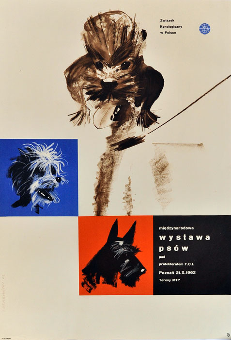 Oryginalny polski plakat reklamujący Międzynarodową wystawę psów pod protektoratem F.C.I. Poznań 21 X 1962. Projekt plakatu: JANUSZ GRABIAŃSKI