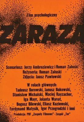 """Oryginalny polski plakat filmowy do polskiego filmu """"Zaraza"""". Reżyseria: Roman Załuski. Projekt plakatu: WALDEMAR ŚWIERZY"""