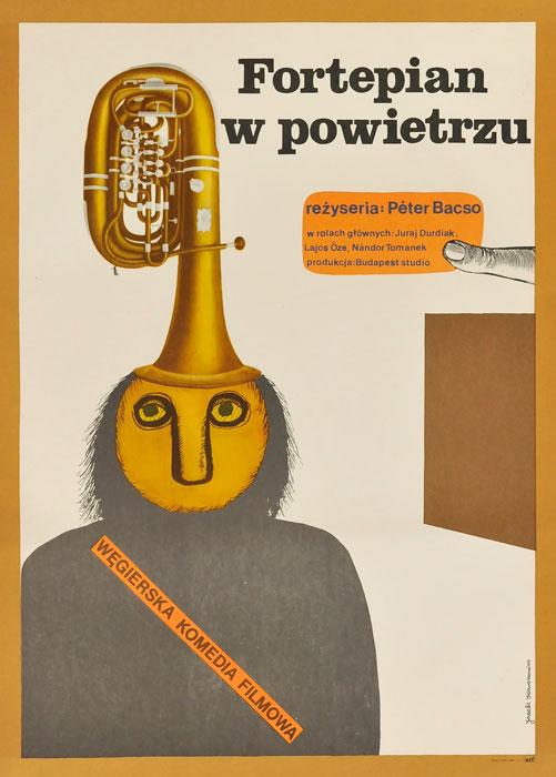 """Oryginalny polski plakat filmowy do węgierskiego filmu """"Fortepian w powietrzu"""". Reżyseria: Peter Bacso. Projekt plakatu: JACEK KAWALEROWICZ"""